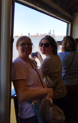 Susanna and Rachel on the Staten Island Ferry.