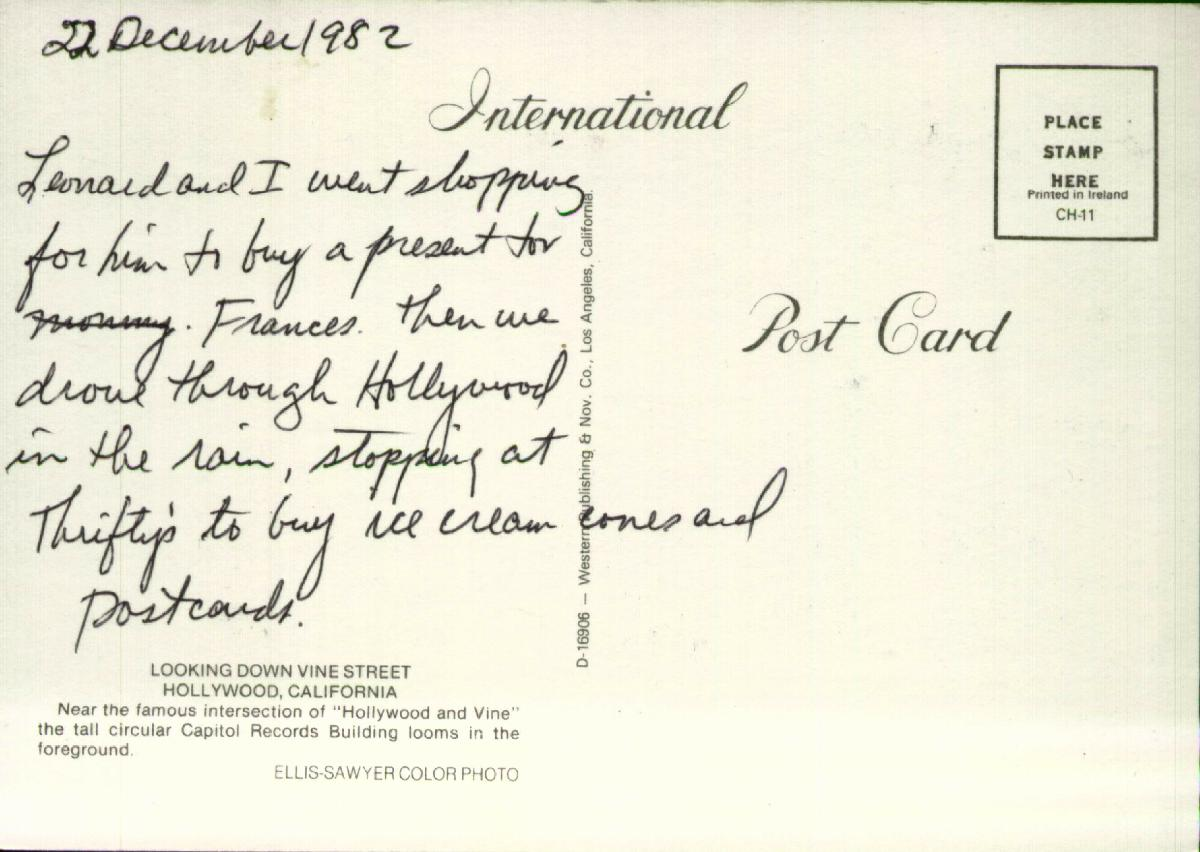 Roy's Postcards: Postcard from 1982/12/22