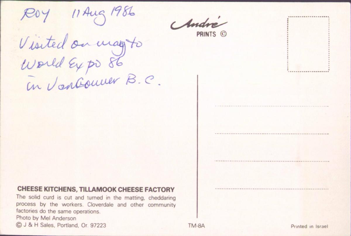 Roy's Postcards: Postcard from 1986/08/11